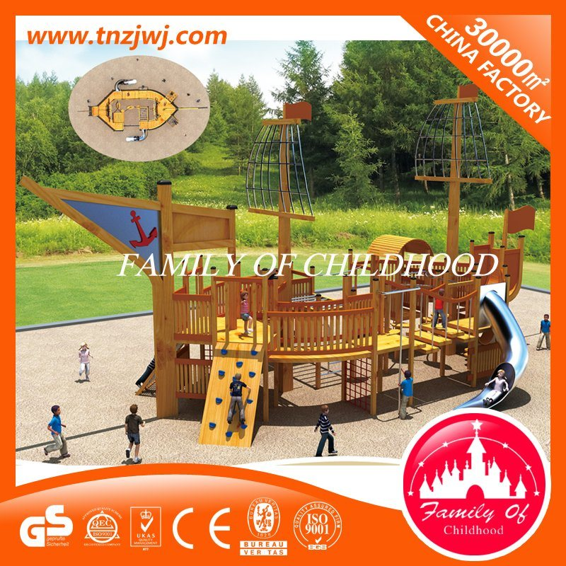 Hot Item Wooden Plastic Pirate Ship Slide Material Outdoor Playground Equipment For Sale