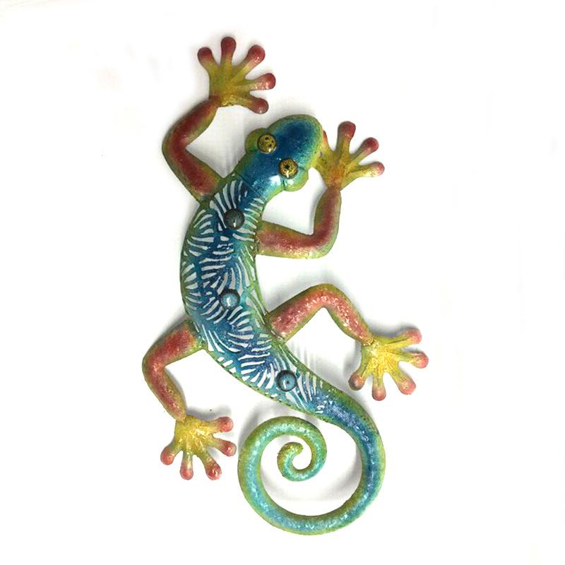 China Garden Color Stone Eye Gecko Rough Metal Wall Art Decoration ...