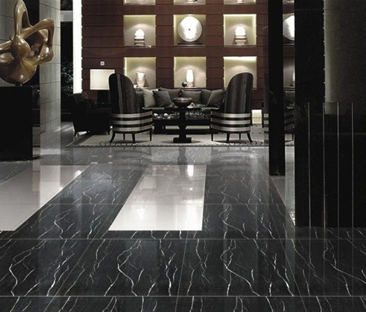 China Polished Nero Marquina Black Marble Tile for Floor/Wall ...