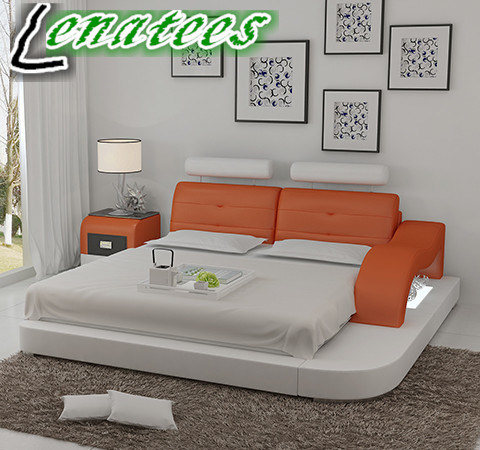 eb73175f31 Lb8802 Modern Designer Furniture LED Light Adjustable Headrest Leather Bed
