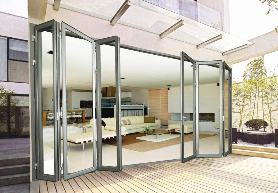 China Tempered Frameless Glass Folding Doors Frameless Interior