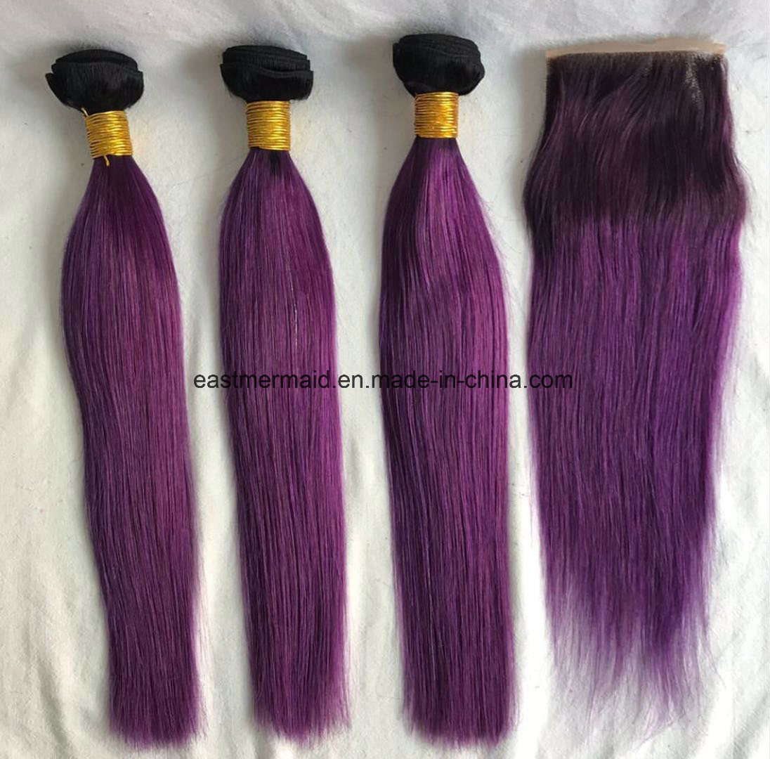China Cheap Brazilian 1b99j Purple Ombre Two Tone Hair Weave