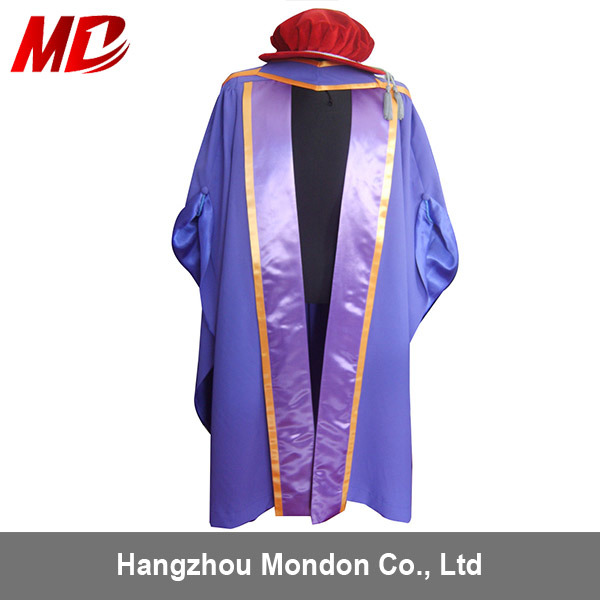 China Purple Doctor Graduation Gown Set with Cap UK Style - China ...