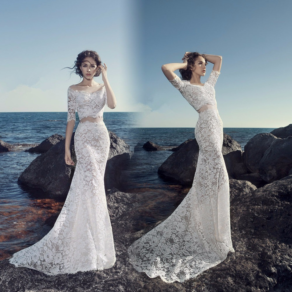 China Short Sleeves Bridal Dress Lace Two Pieces Wedding Gowns ...