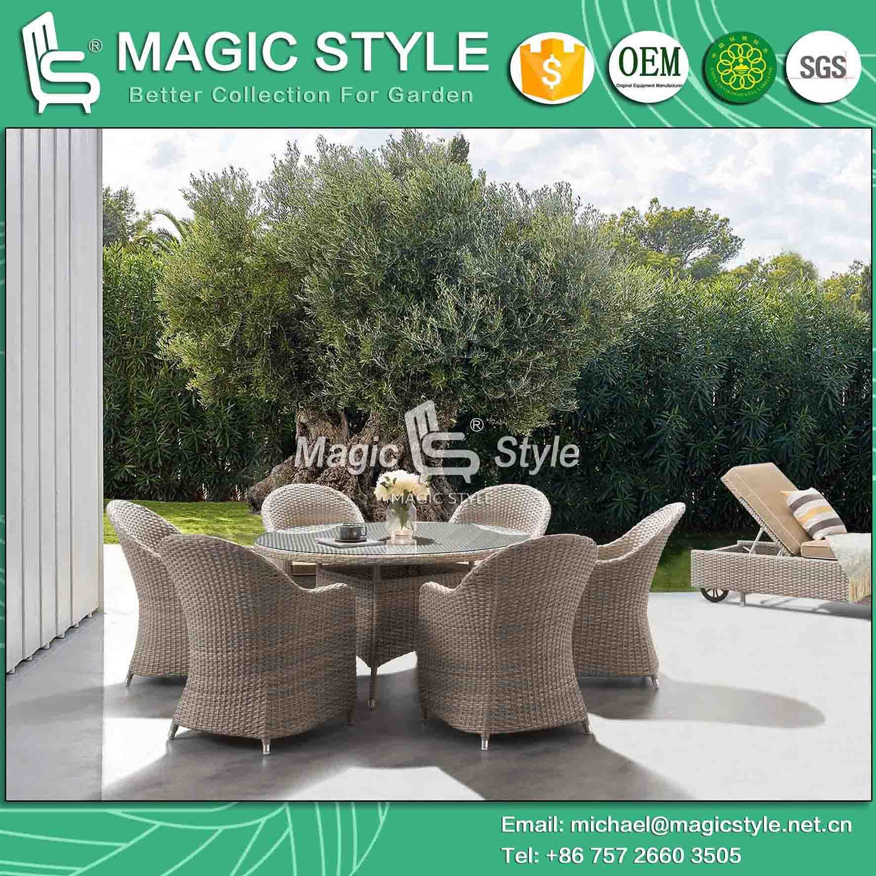 Rattan Wicker Dining Set With Sunproof Cushion Outdoor Dining Chair Garden Dining  Table Wicker Weaving Dining Set Patio Wicker Coffee Chair
