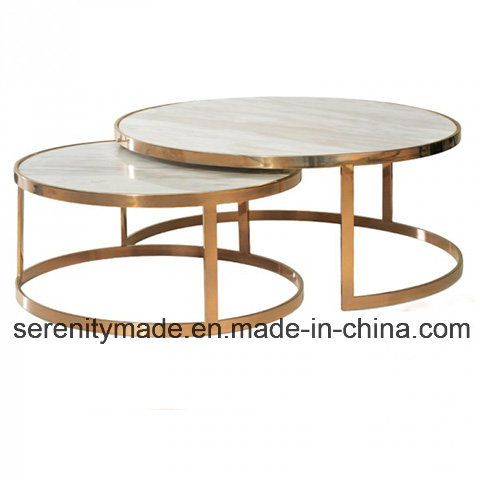 European Style Solid Rose Gold Metal Frame Marble/Wood Top Round Cafe Table
