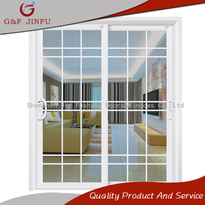 China Simple Design Aluminium Door Glass Sliding Door With Grills