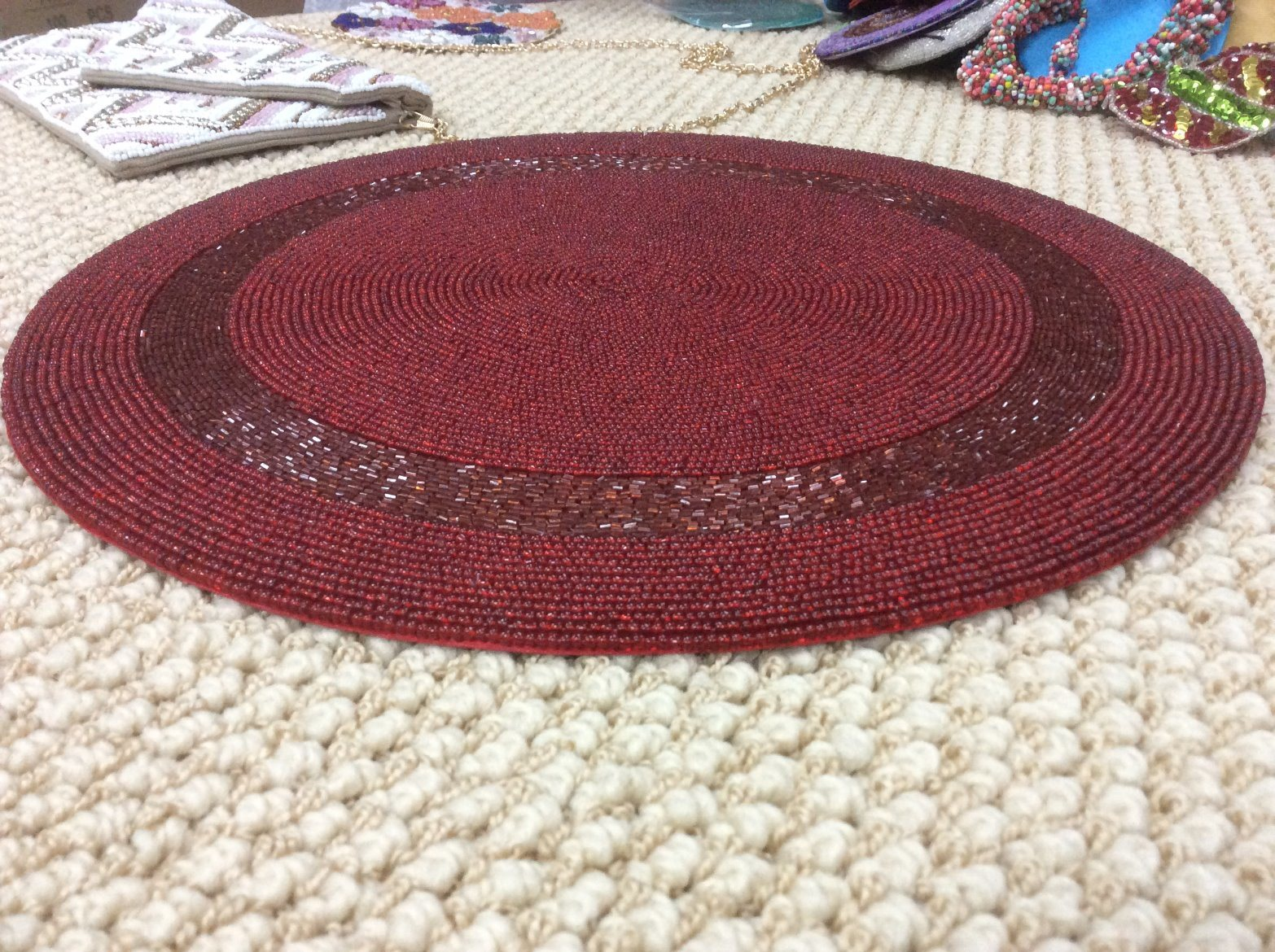 China 25 Years Factory Custom Glass Beaded Placemat Seed Beads
