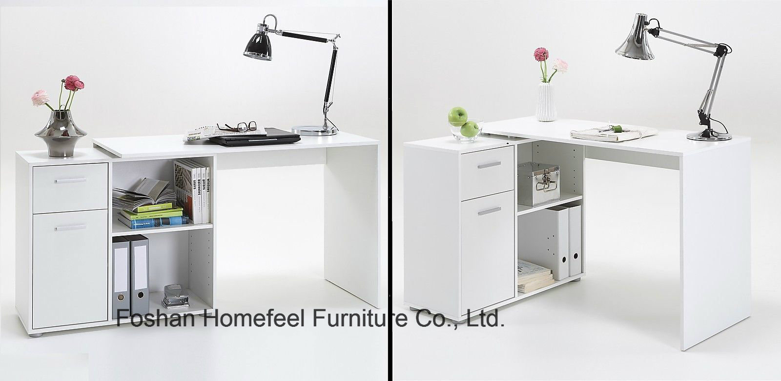 China White Glossy Wooden Home Office Computer Desk With Drawers Hf Sd03w China Computer Desk Office Furniture