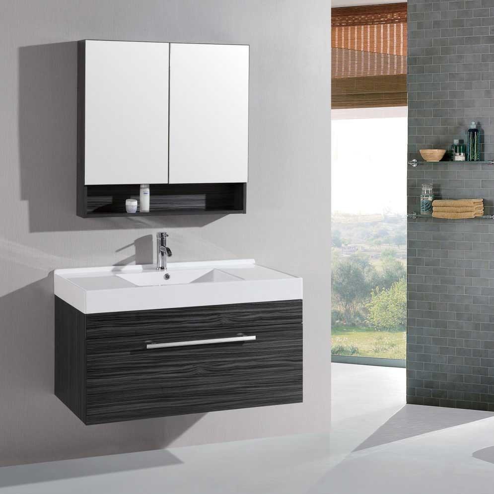 China Black Wood Grain Bathroom Vanity, Plywood Bathroom Cabinet ...