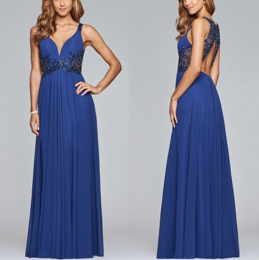 China Beaded Blue Evening Gown Backless A-Line Bridal Bridesmaids ...
