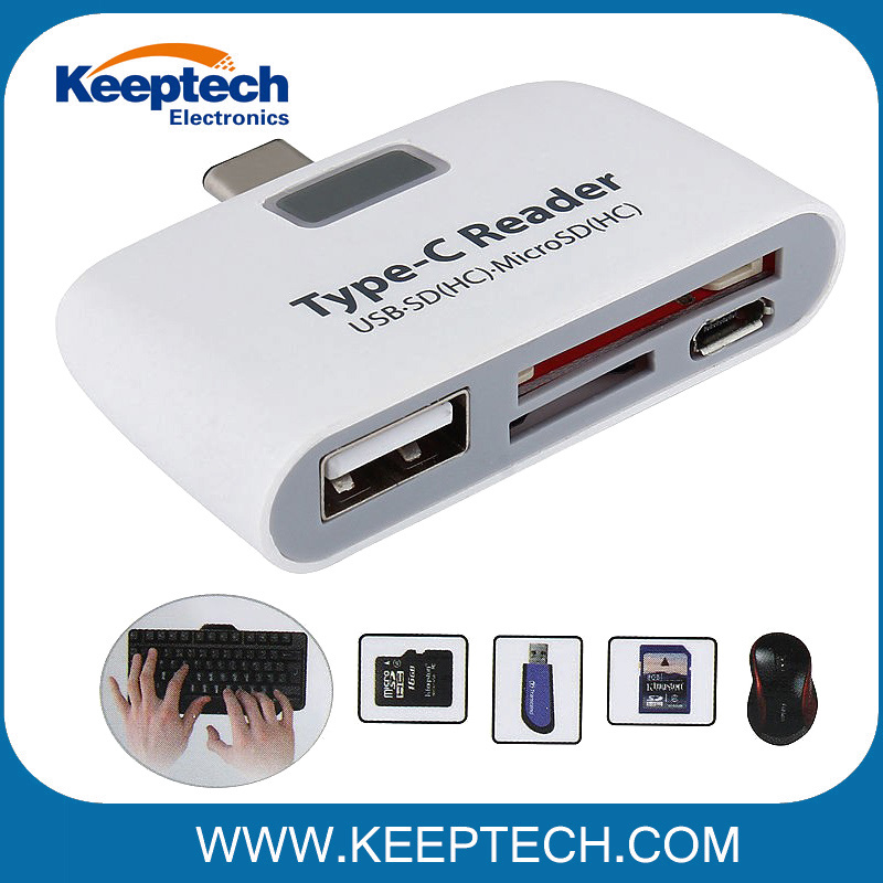 PrinceShop 3 in 1 Micro USB 2.0 Type-C Flash Drive Adapter Connector TF Card Reader for PC Computer