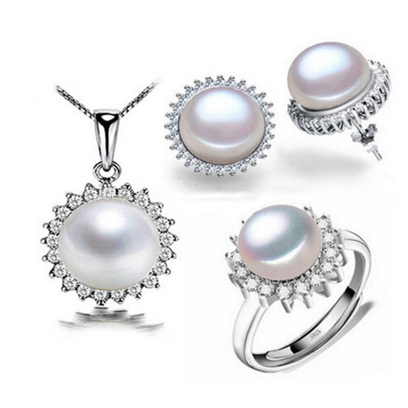 China Hot Sales Jewelry Set 925 Silver Jewelry Pearl Necklace Ring