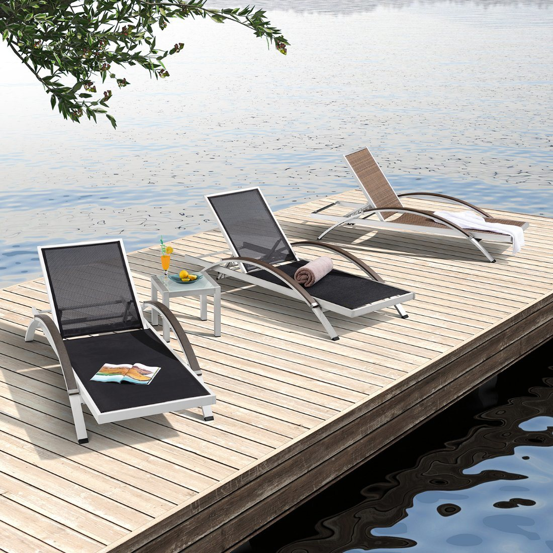 - China Modern Furniture Aluminum Outdoor Chaise Lounge For Cruise