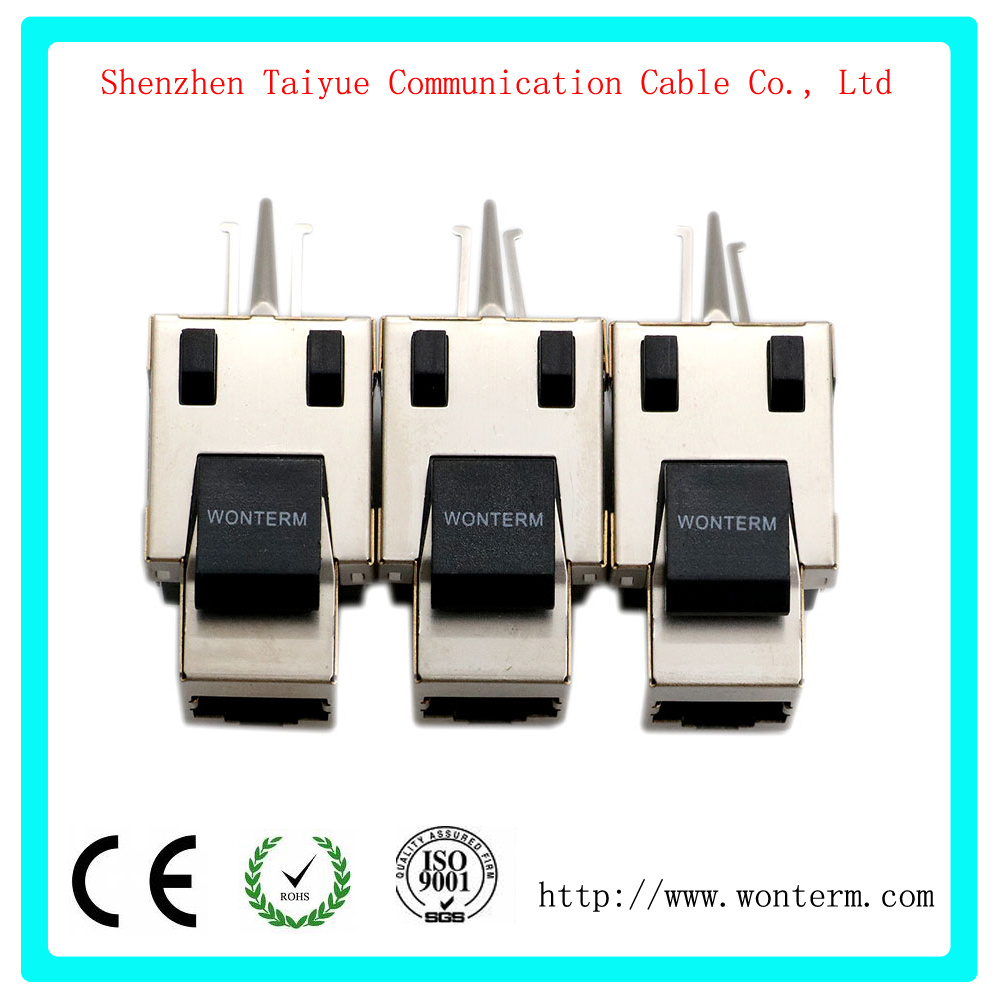 China Cat6 Snap In Shielded Keystone Jack Mactisical Rj45 Cat 6 Wiring Ethernet Module Lightning Proof Line Couplers