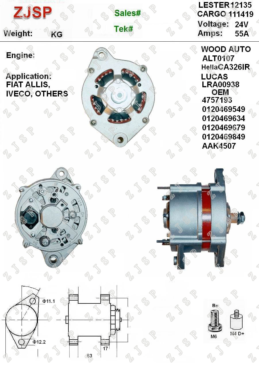 Wholesale Alternator For Iveco Buy Reliable Engine Fuel System Diagrams Bosch Zja B 044 Ca326ir Lra00938 111419 0120469549 0120469634 0120469679 0120469849 Aak4507 12135 Alt0107 24v 55a Fiat Allis Others