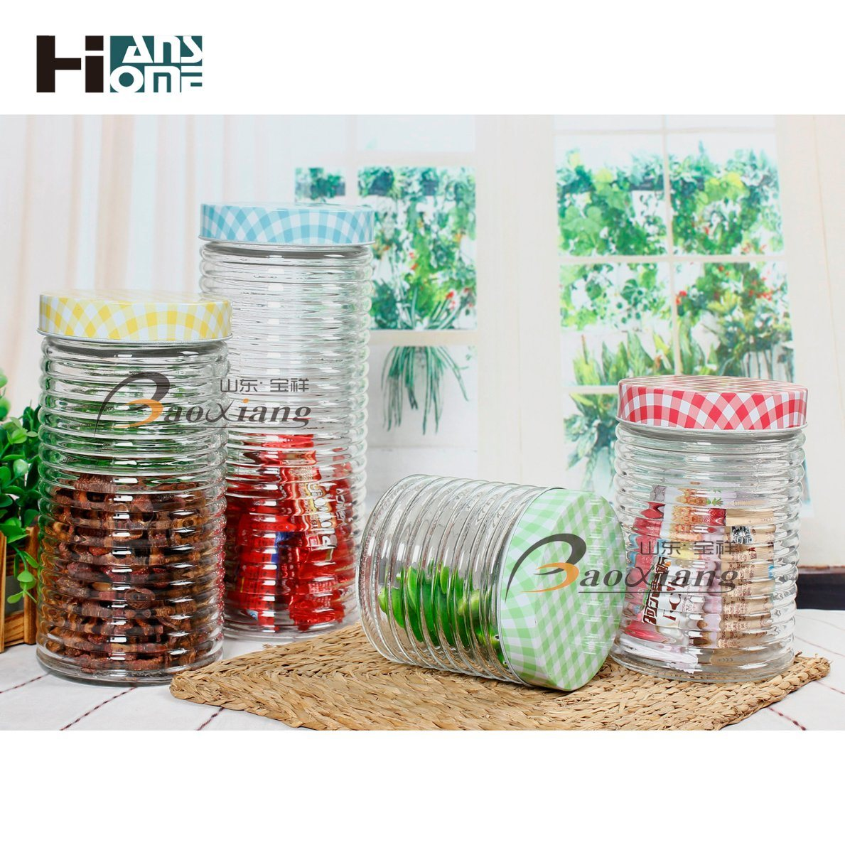 Factory Color or No Color Food Cookie Storage Glass Jar with Stainless Steel Lid or Beautiful Lid pictures & photos