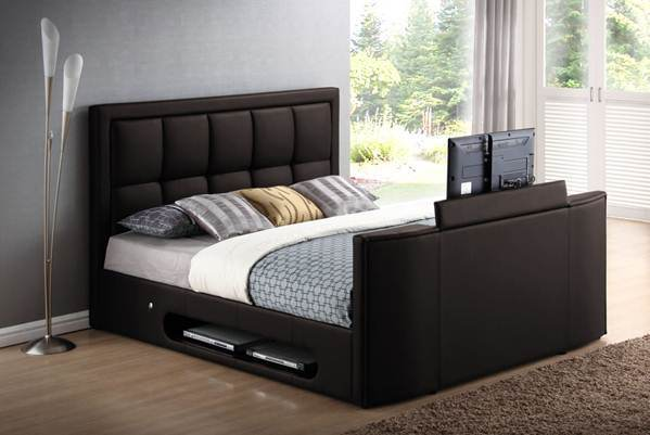 China Modern Leather Bed with in-Built TV Lifter A088 - China Bed ...