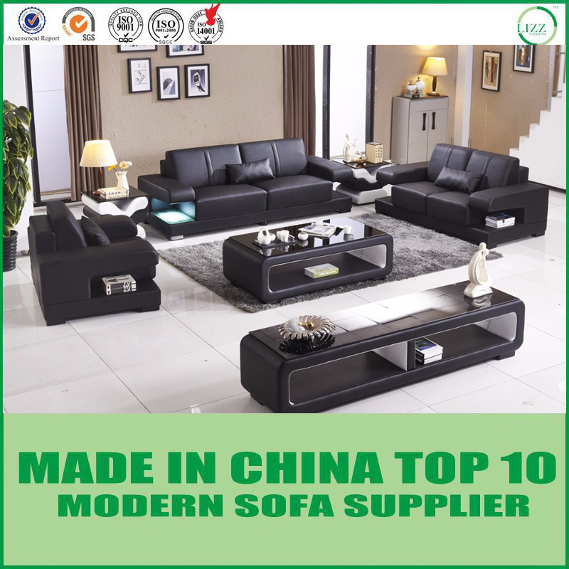 [Hot Item] Latest Italian Modern Design Leather Sofa Set with LED Light