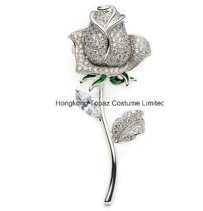 123b5c71bf751 [Hot Item] Copper Crystal Rose Brooches Women′s Rhinestone Enamel Flowers  Wedding Banquet Brooch Pins (EB01)