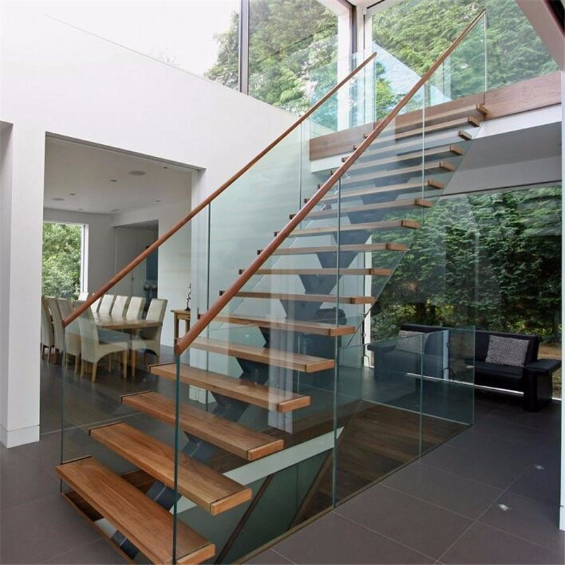 China Prefab Steel Wood Straight Staircase With Gl Stair Railing Interior