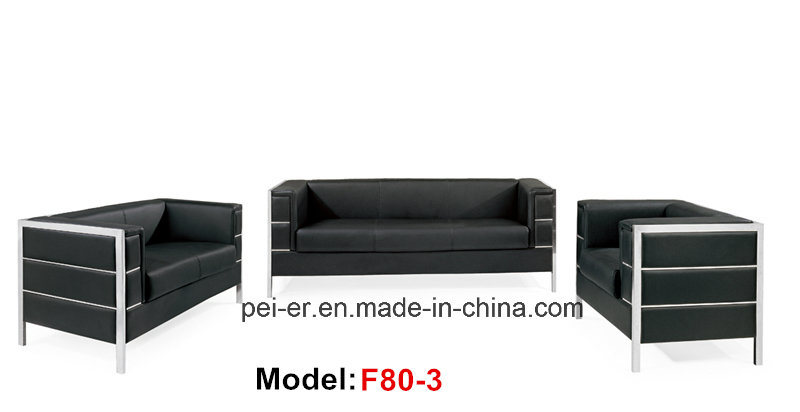 China Office Leather Stainless Steel Reception Commercial Sofa F80 3 Sectional