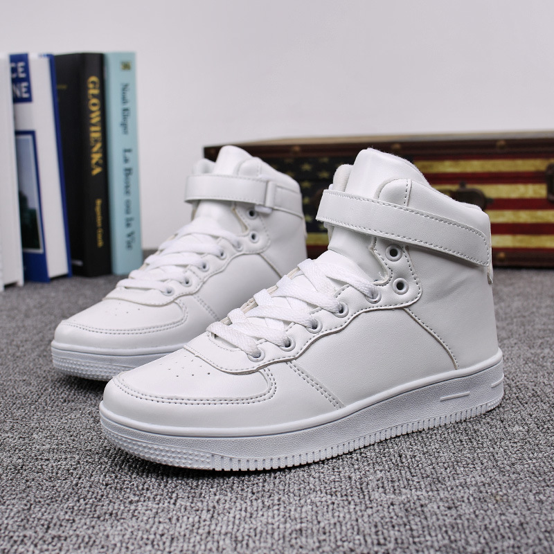 8aec564a5c64 China New Fashion Casual Men Women High Neck Lether White Skateboard ...