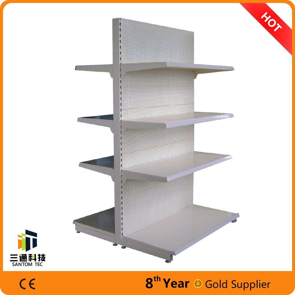 Perforated Panel Metal Supermarket Shelf/Supermarket Gondola Shelf