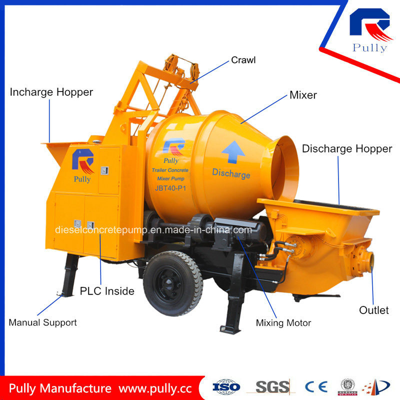 Mobile Hydraulic Trailer Concrete Pump with Drum Mixer (JBT40-P) pictures & photos