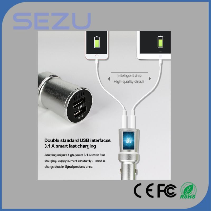 3 in 1 Cigarette Lighter 5V 3.1A Dual USB 2 Ports USB Car Charger