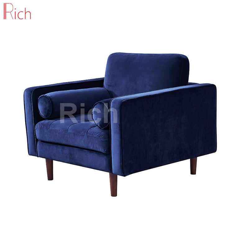 [Hot Item] Living Room European Style Navy Blue Fabric Sofa One Seat