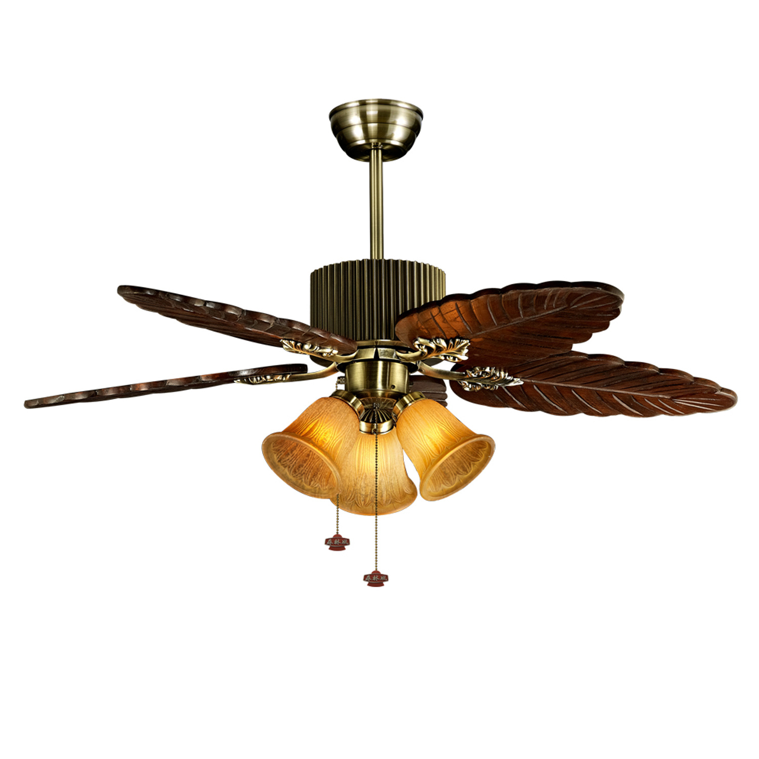 China Retro Style Five Solid Wood Blades Dining Room Use Ceiling Fan With Light China Solid Wood Blades Fan And Retro Style Ceiling Fan Price
