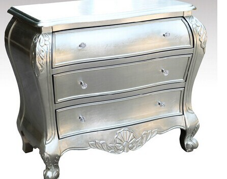 China French Silver Leaf Finish Wooden, Silver Leaf Furniture