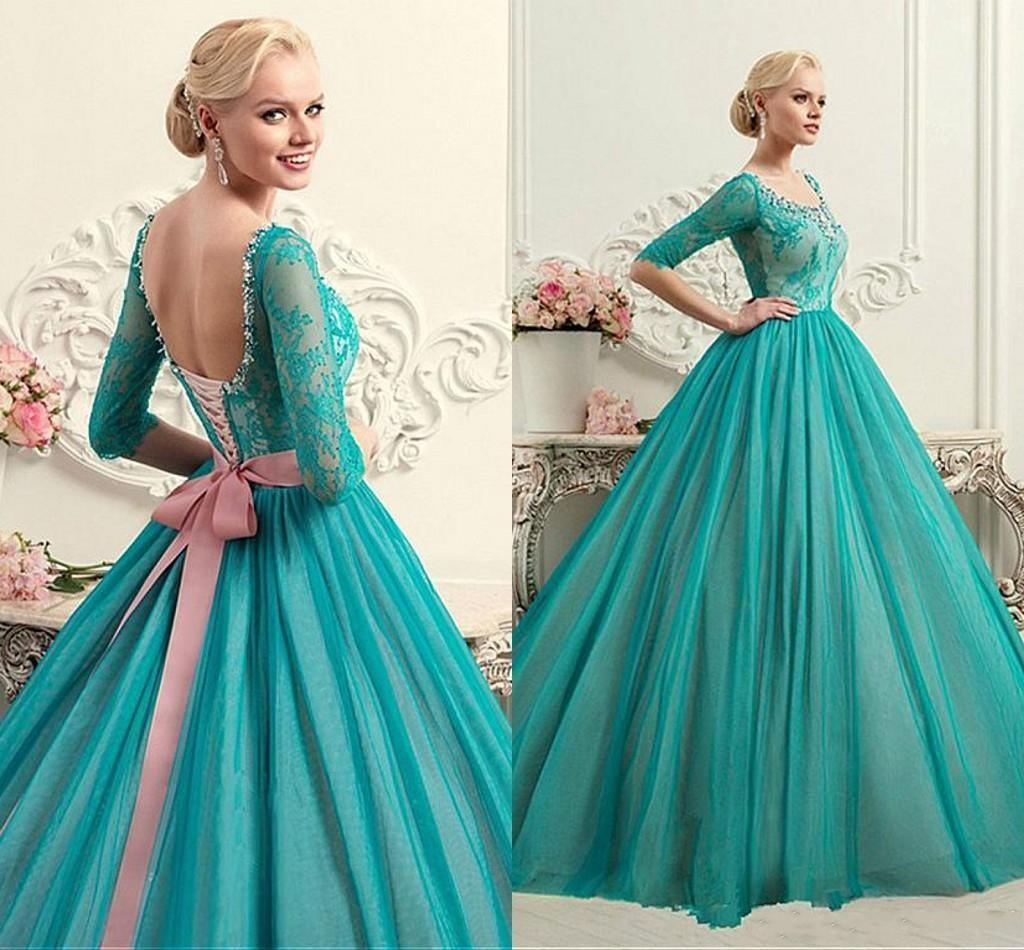 China Mint Green Blue Party Cocktail Ball Gown Sheer Long