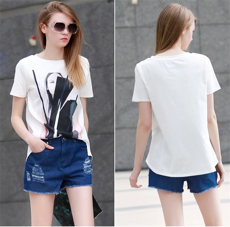 Hot Sale Street Loose Printing Pure Cotton Tee Shirt