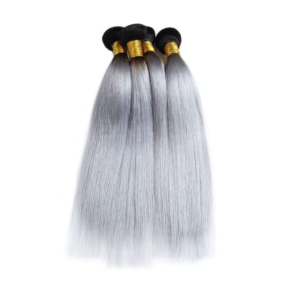 China 1b Grey Straight Ombre Hair Extensions 10 26inch 100 Human