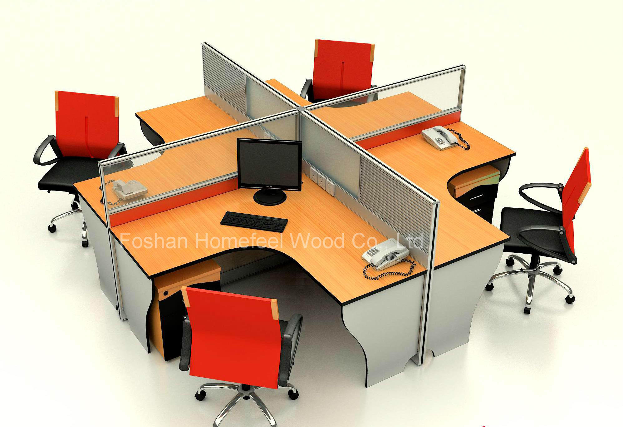 China Modern 4 Seater Office Workstation Modular Aluminum