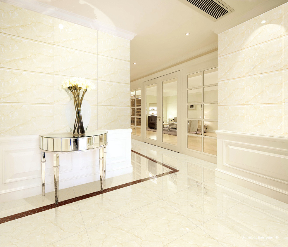 China Building Material Ivory White Polished Porcelain Floor Tile