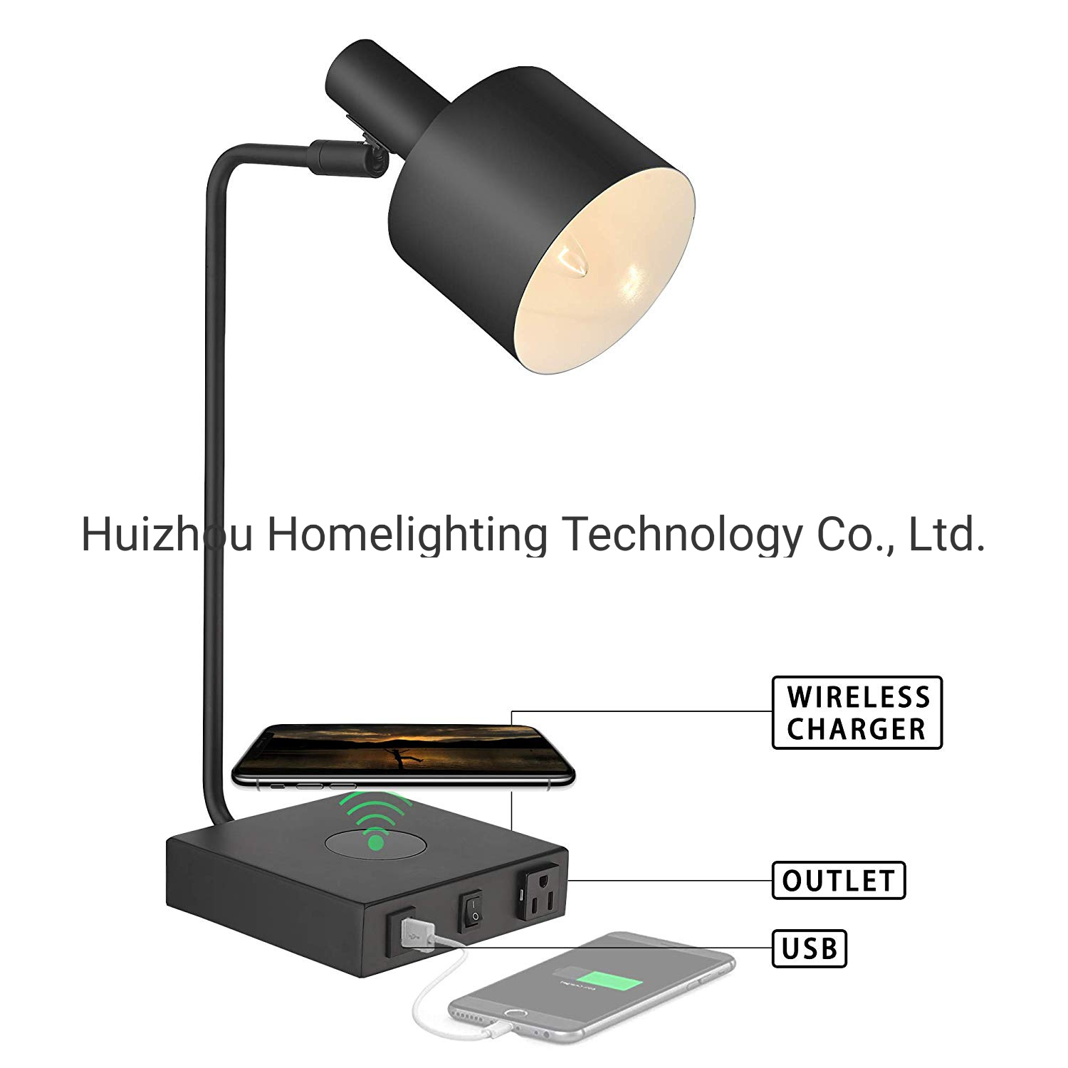 Hot Item Jlt 9302 Matte Black Multi Function Iron Nightstand Table Lamp With Wireless Charger And Usb Charging Port Outlet
