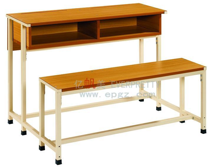 [Hot Item] Fixed School Furniture Wooden Double Student Desk and Bench