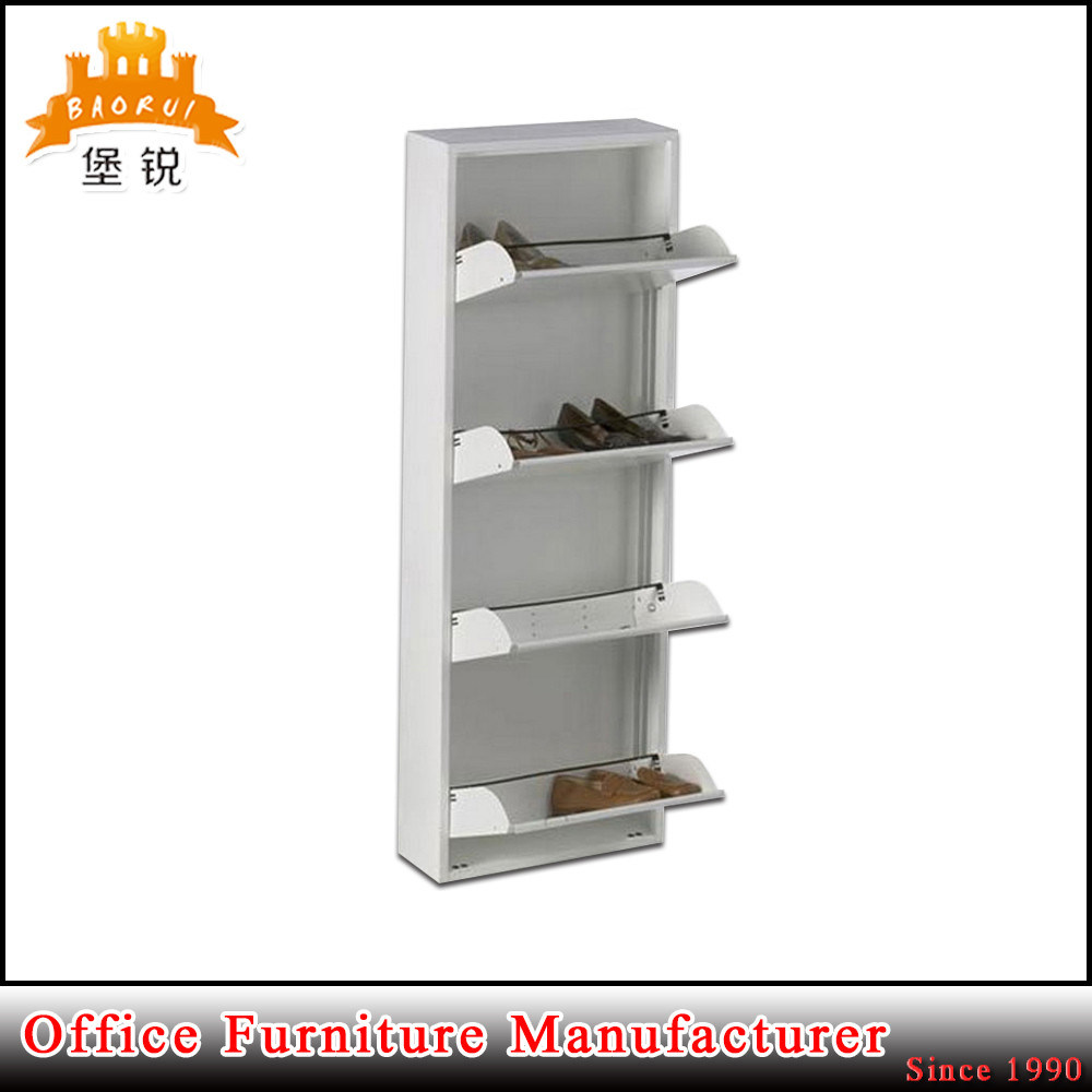 Knock Down Structure Shoe Storage Cabinet 4 Layer Metal Shoe Rack pictures & photos
