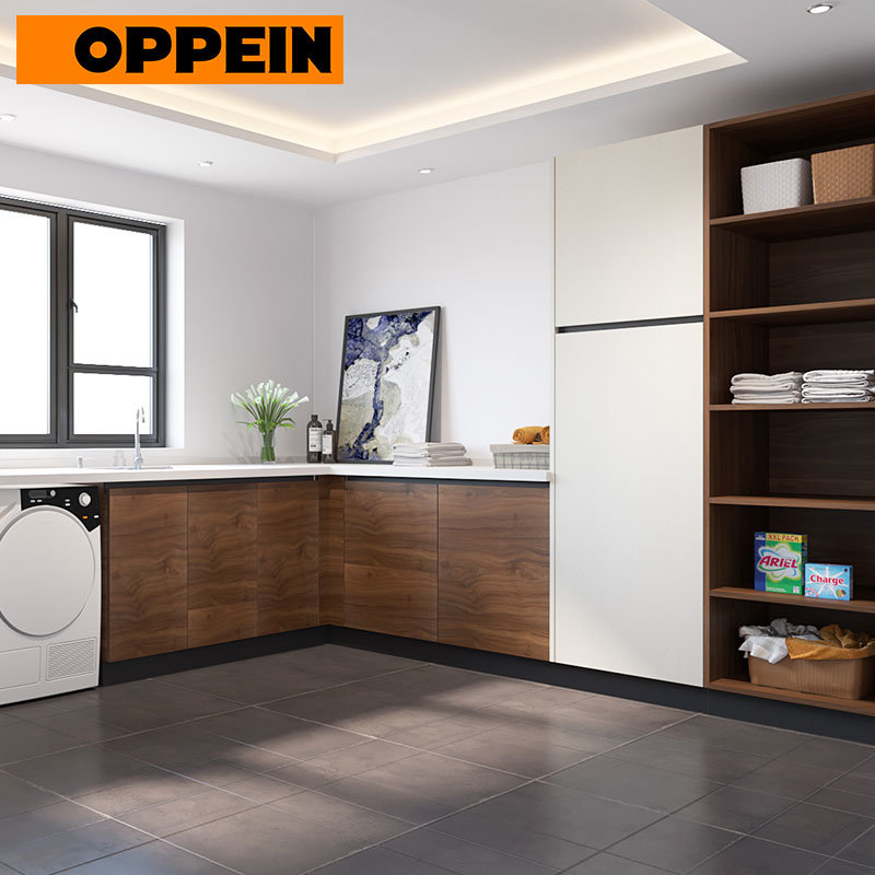 China Oppein White And Wood Grain Contemporary Eat In Bespoke Kitchen Cabinets Photos Pictures Made In China Com