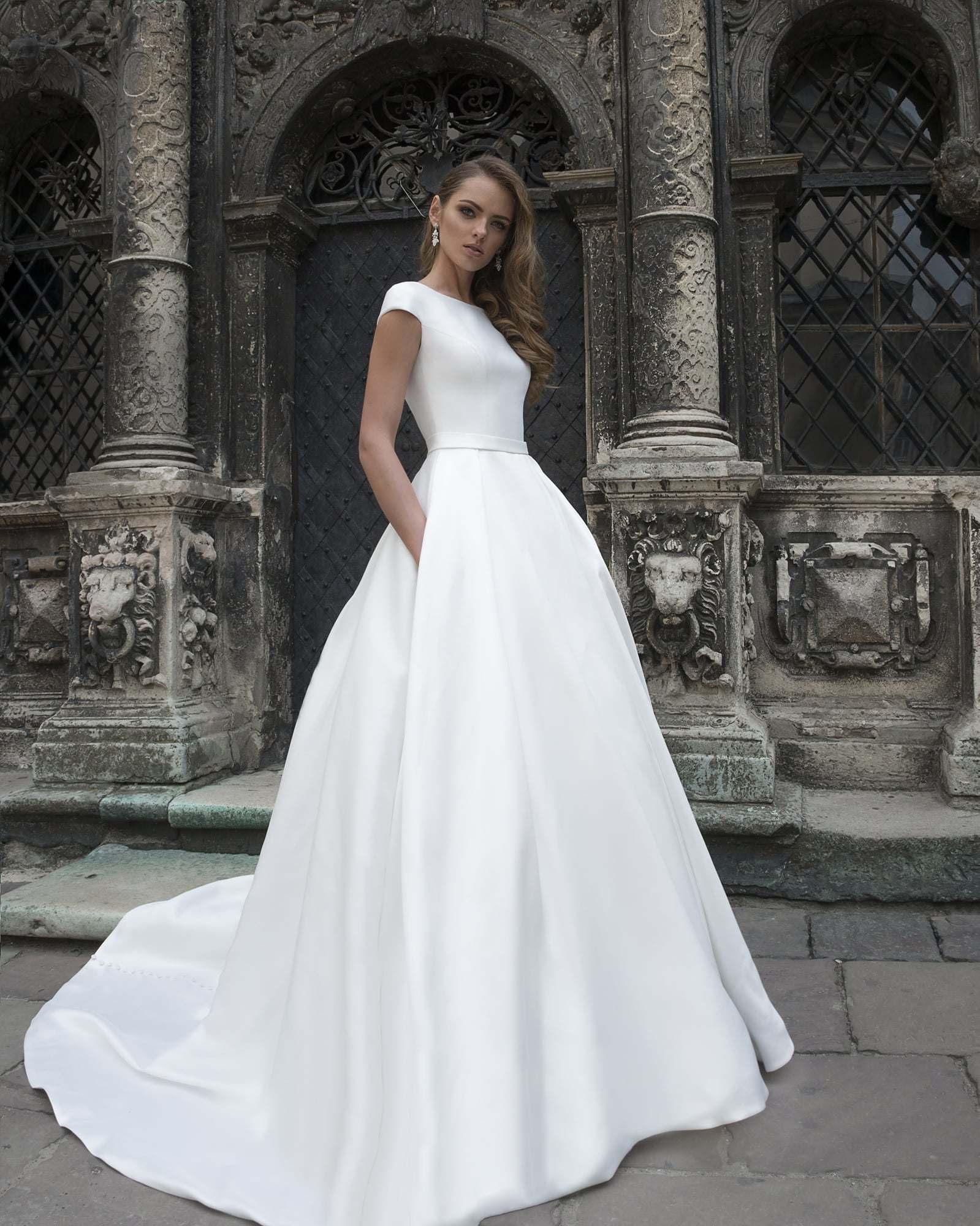 Wedding Dress With Pockets.Hot Item Amelie Rocky A Line Vintage Satin Wedding Dresses With Pockets