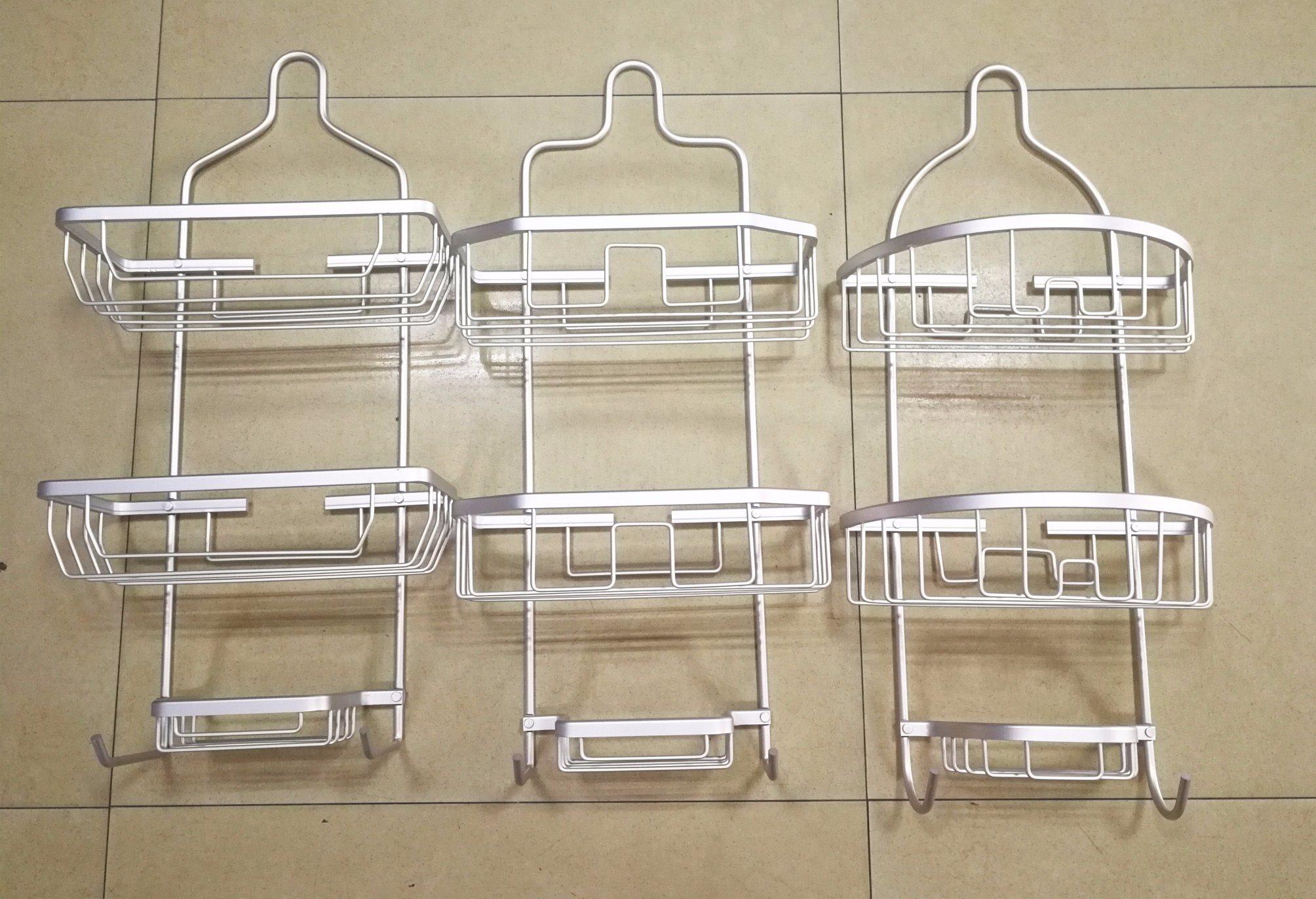 China Aluminum Shower Caddy Aluminum Double Shelf with Soap Dish ...