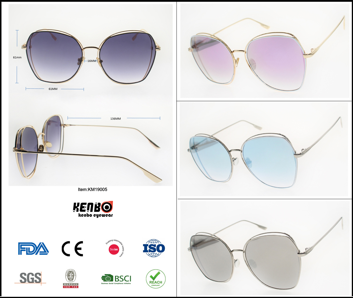 2019 New Metal Fashion Trend Best Selling Sunglasses Rimless, Copy Popular Brand Eyewear, Accessory, Item No. Km19005 pictures & photos