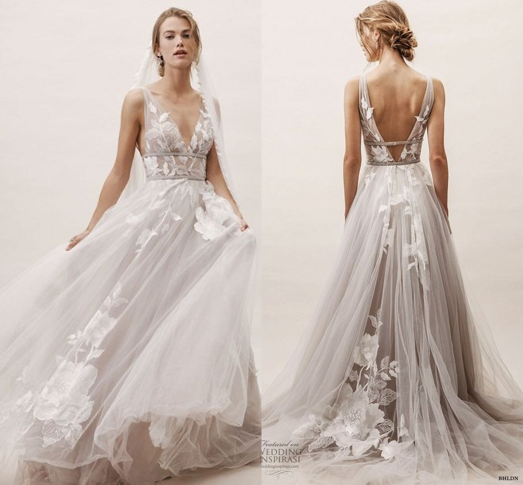 77c7fb900749c [Hot Item] Floral Wedding Dress Sleeveless Lace Tulle A-Line Beach Boho  Bridal Gown L1929