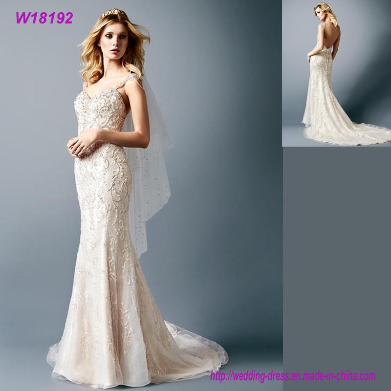 Hot Item Sexy Mermaid Wedding Dresses Low Back Mermaid Wedding Gowns Lace Bride Dress