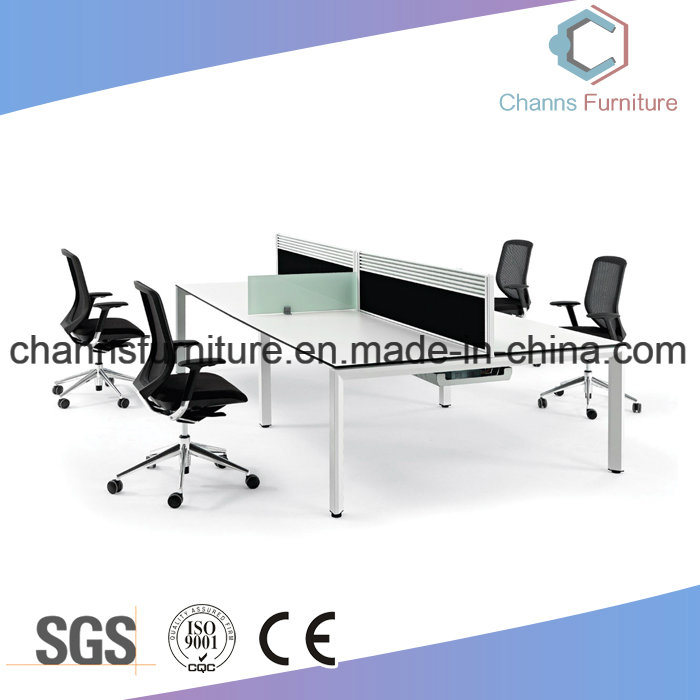 China Customized Color Optional Cross Office Melamine Desk Workstation With White Metal Frame Table Furniture