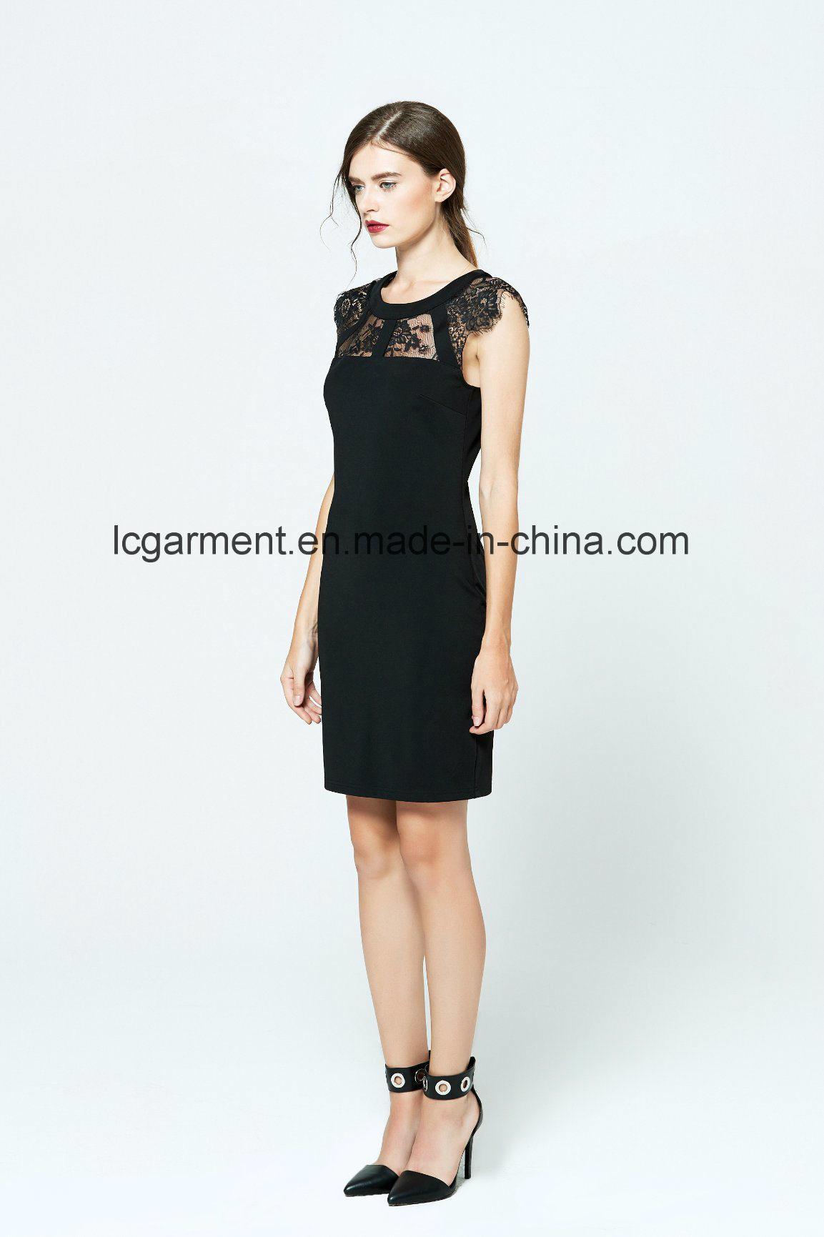 Best Price Fashion Slim Fit Office Dress Black Lace for Ladies