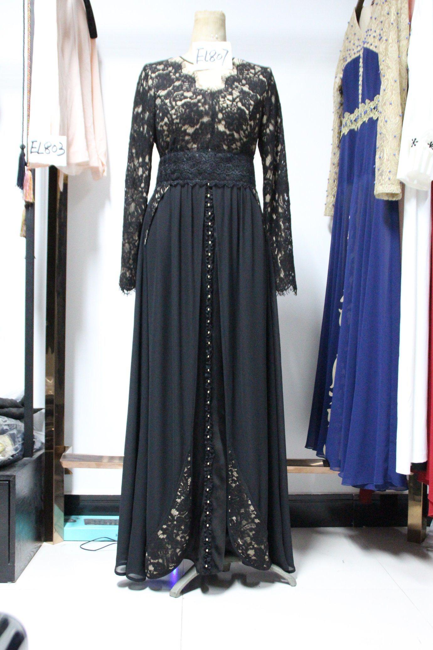 96bcb63a2d9a Long Eyelash Lace Fashion Islamic Dress Modern Black Chiffon Muslim Dress  Abaya Women Clothes